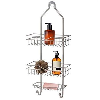 Home Zone Living Shower Caddy - Over the Shower Head Bathroom Organizer  Satin Nickel