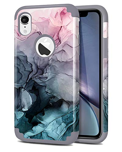 Dailylux iPhone XR Case,Marble Pattern Slim Hybrid Hard PC Soft Silicone Cover Anti-Slip Shockproof Protective Case Girls Women Bumper for iPhone XR 6.1 inch 2018,Ink Watercolor