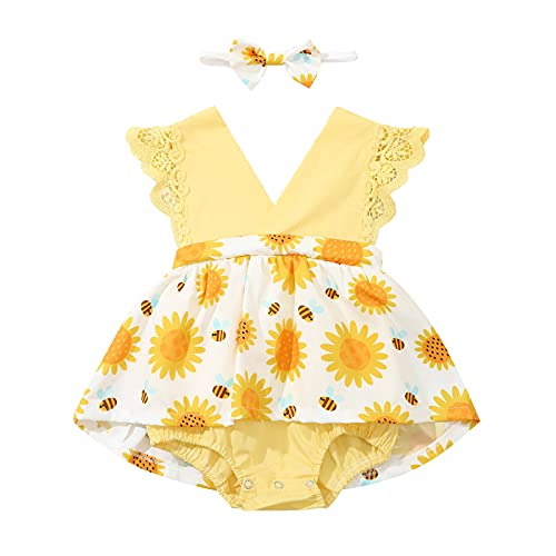 reakoo Infant Newborn Toddler Baby Girl Clothes Floral Summer Outfits Ruffle Sleeve Jumpsuit Ruffled Bodysuit with Infant Headband