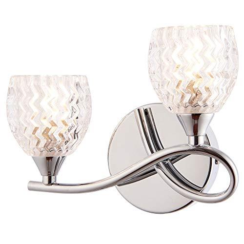 2 x 33 W G9-95 mm über Hängeleuchte - gebogener Arm Chrom & Schnittmuster Glas Schirm - Moderne 2 x Multi-Leuchtmittel - Wohnzimmer Wohnzimmer Schlafzimmer Nachttisch Lampe - LED & Dimmbar