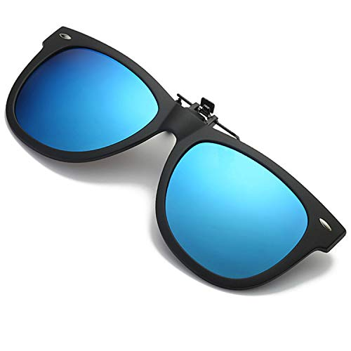 Polarized Clip-on Sunglasses Over Prescription Glasses Fishing Driving (Blue)
