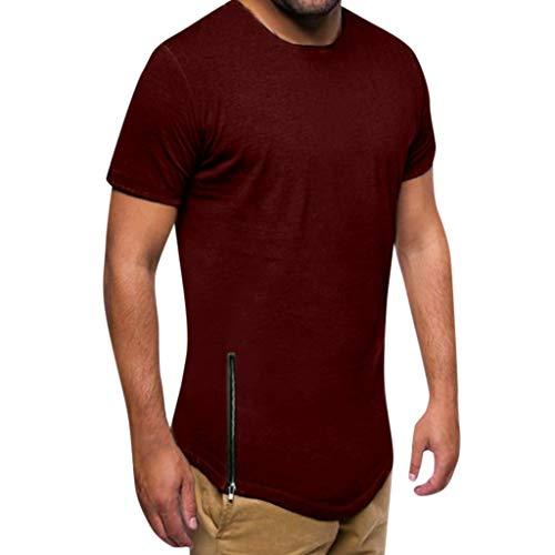 Ventas de Camiseta de músculo de Verano Yvelands Handsome Men Casual Slim Fit de Manga Corta con Cremallera Top Blusa(Vino,M)