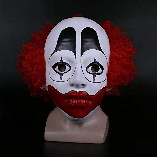 DFLMBV Bola de Maquillaje de Halloween realiza Peluca Payaso Prankscare Atrezzo Animal World Redhead Clown Mask