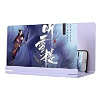 携帯電話用スクリーン拡大鏡,HD4-6倍 3Dスクリーン拡大鏡付きのBluetoothスピーカー、3Dスクリーン拡大鏡、IPhone XS/XR/X / 8月8日プラス/ 7月7日プラス/ 6S、ギャラクシーS9 + / S9 / S8、携帯電話折り畳み式スクリーンHDビデオ作品のサポート スマートフォン画面アンプ (Color : White-A, Size : 20-inch)