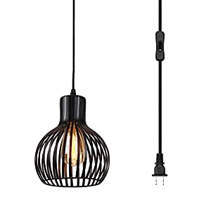 Riomasee Industrial Wire Cage Plug in Pendant Light 14.27 Ft Hanging Light Cord with On/Off Switch,Vintage Black Metal Hanging Lamp Fixture