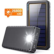 Solar Charger, 26800mAh Power Bank Portable Panel Charger with 2 USB Outputs, Type C Input, LED Flashlight, Shockproof, Non-Slip, External Battery Pack Cellphone Backup for Apple iPhone, Samsung Galaxy Android,Tablet, Camping, Outdoor
