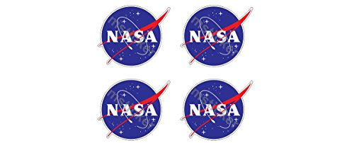 4 Aufkleber Nasa Frikadelle Meatball Logo Emblem Aufkleber Sticker + Gratis Schlüsselringanhänger aus Kokosnuss-Schale + Auto Motorrad Laptop Racing Space Space-shuttle Apollo Mond Star Astronomie
