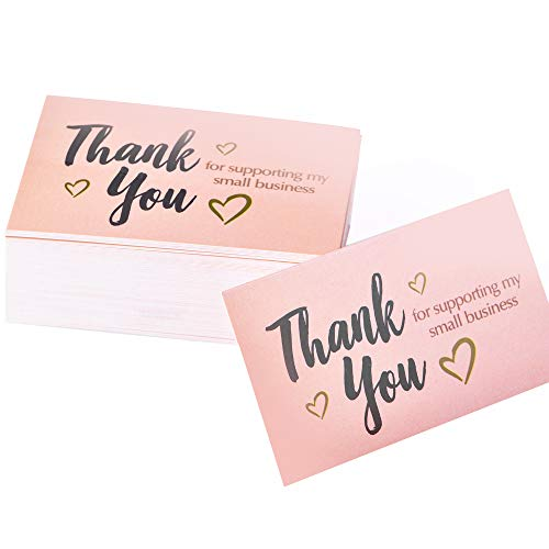 Thank You for Supporting My Small Business Cards, Premium Look And Feel With Gold Foil Hearts (3.5 x 2 Inches...