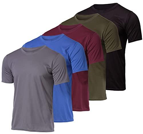 5 Pack: Men's Mesh Active Wear T-Shirt Essentials Performance Workout Gym Training Quick Dry Fit Dri Tech Breathable Short Sleeve Crew Under Shirt Athletic Sport Running Raglan Top SPF- Set 4 Medium