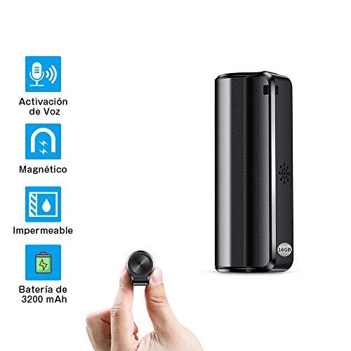 Grabadora de Voz, Mini Grabadora de Voz Espía de 16 GB con Activación por Voz- Duración de la Batería de 19 Días, Grabadora a Prueba de Agua, Un Botón para Grabar/Guardar, Recargable