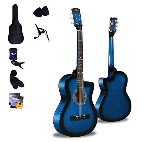 Boll-ATur Azul 38 pulgadas guitarra acústica - Navidad Principiante regalo de la guitarra acústica for principiantes Kit Con sintonizador, las cuerdas, picos, 18frets Panel Correa tilo