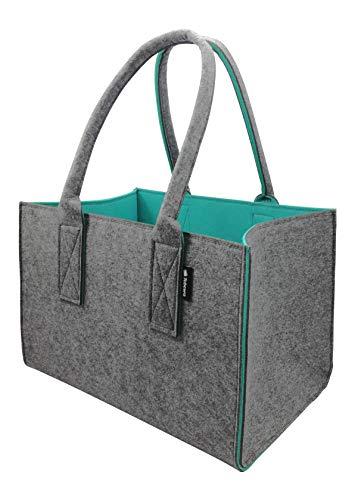 Tebewo Shopper Filztasche Premium, große Einkaufs-Tasche mit Henkel, Einkaufskorb, Faltbare Kaminholz-Tasche zur Aufbewahrung von Holz, Tragetasche auch zur Spielzeug Aufbewahrung, Dunkelgrau/Türkis