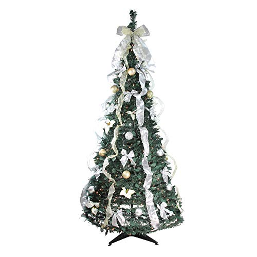 Northlight 6' Pre-Lit Slim Decorated Pop-Up Artificial Christmas Tree - Clear Lights, Silver (21512LB)