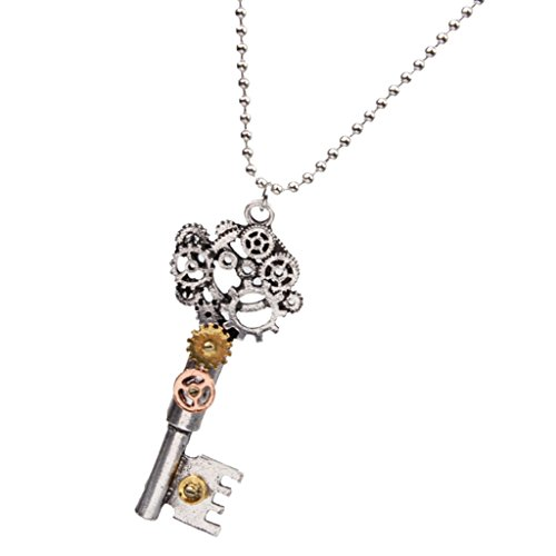 Vintage Statement Necklace Steampunk Gear Key Design Pendant Chain Necklace for Women Men Boy Girl A Great Accessory with Personality Both for Your Friends and Yourself Material: Alloy
