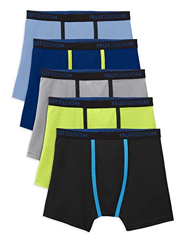 Fruit of the Loom Big Boys' 5 Pack Breathable Boxer Brief, Micro/Mesh Assorted