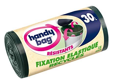 Handy Bag - Rouleaux de 15 Sacs Poubelle 30 L, Poignées Coulissantes, Fixation Élastique, Recyclés, Résistant, Anti-Fuites, 55 x 63 cm, Vert Foncé, Opaque