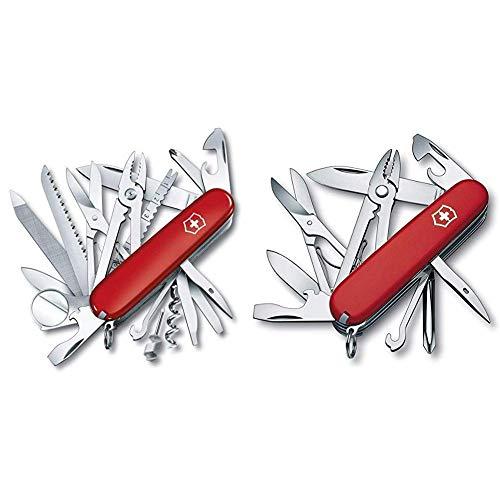 Victorinox Taschenmesser Swiss Champ (33 Funktionen, Kombizange, Stecknadel, Zange, Schere) rot & Taschenmesser Deluxe Tinker (17 Funktionen, Phillips-Schraubendreher, Kombizange, Schere) rot
