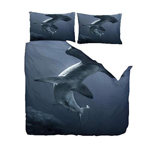 Funda Nordica 3 Piezas 220 x 230cm Tiburon de Aguas Profundas Juego de Cama,Funda Nórdica y Dos Fundas de Almohada, Microfibra,Suave y Suave Tres Piezas