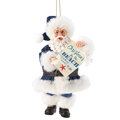 Department 56 Possible Dreams Santa Christmas by The Beach Hanging Ornament, 6 Inch, Multicolor