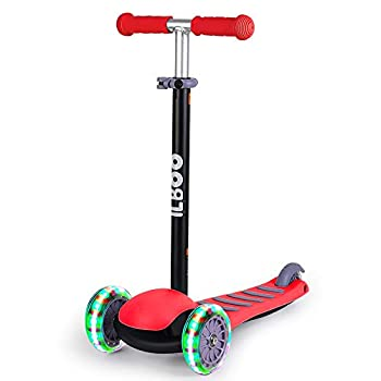 Maydolly Kick Scooter for Kids with 3 Light Up Wheels Glider Kick n Go Adjustable Heights Wide Deck Best Gifts Toddler Scooter for Boys Girls from 2-5 Years Old Red