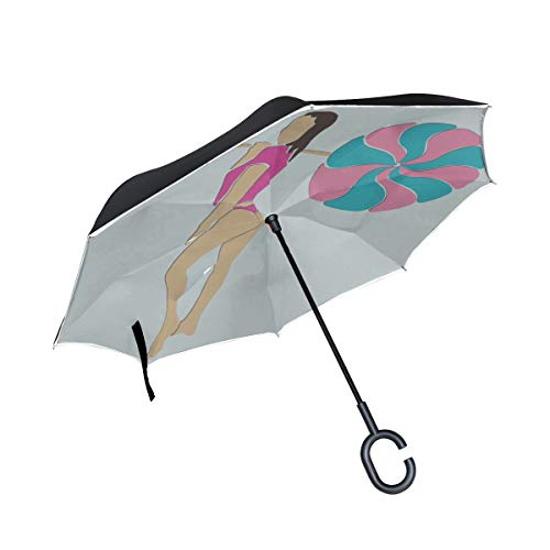 WIEDLKL Double Layer Inverted Inverted Umbrella Travel Young Slim Sporty Woman Huge Candy Invert Umbrellas Best Reverse Umbrella Windproof Uv Protection for Rain with C-Shaped Handle