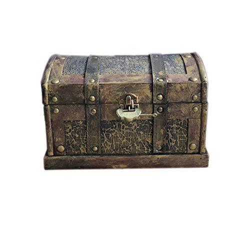GYMEIJYG Maleta Vintage, con Cerradura Alta Capacidad Diseño Antiguo Caja Pirata Es Adecuado para La Decoración De Cafés Y Bares. 2 Tamaños (Color : Brown, Size : 30x21x21cm)