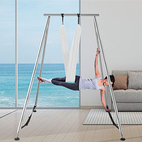 Happybuy Yoga Sling Inversion, 68lbs Inversion Yoga Swing Stand, 551lbs/250kg Aerial Yoga Frame with 236in/6m Yoga Swing Inversion Sling Body Yoga Aerial Trapeze Bundle Safety Belts, White