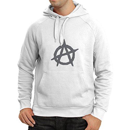 lepni.me Sudadera con Capucha Símbolo anarquista, diseño político del anarquismo, Monograma de la anarquía - Movimiento anarco-Punk (Small Blanco Plata)