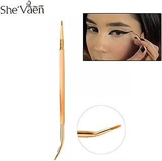 Generic Pro Double Ended Bamboo Liner Brush Angled Tip Precision Eyeliner Brush Lip Brush Gel Cream multi purpose Brushes Tool 1PCS