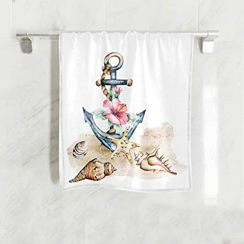 Beach Nautical Anchor Soft Hand Towels for Bathroom 16x30,Decorative Starfish Seashore Summer Dish Towels Fingertip Washcloth for Kitchen,Hotel, Gym and Spa