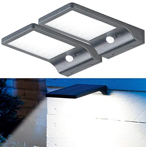 Lunartec Solar LED Strahler: 2er-Set Solar-LED-Wandleuchten, PIR-Sensor & Nachtlicht, IP44, 350 lm (LED-Solar-Wandlampen)