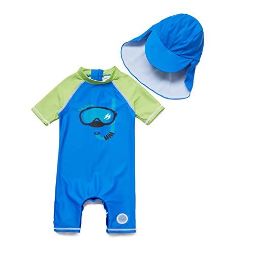 Soui BONVERANO Baby Junge EIN stück Kurzärmel-Kleidung UV-Schutz 50+ Badeanzug MIT Einem Reißverschluss (Tauchen, 18-24)