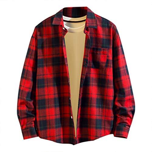 Chemise FNKDOR pour des Hommes Décontractée Mode T-Shirts Impression à Carreaux en Vrac Sweat à Capuche Amovible Manche Longue Haut de Chemise Top Blouse(C Rouge,4XL)