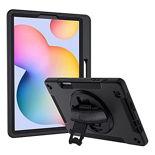 Lobwerk Funda 4 en 1 para Samsung Galaxy Tab S6 Lite P610 P615 de 10,4 pulgadas, carcasa rígida + función atril + asa, color negro