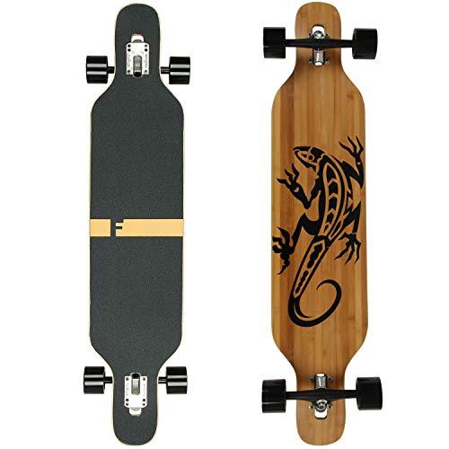 FunTomia Longboard Skateboard Drop Through Cruiser Komplettboard mit Mach1 High Speed Kugellager T-Tool mit und ohne LED Rollen (Mod. Camber - Bambus Gecko)