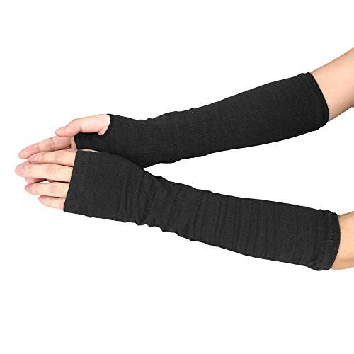 Allywit Women's Knitted Arm Warmer Gloves Warm Long Fingerless Mittens with Thumb Hole Gloves (Black)
