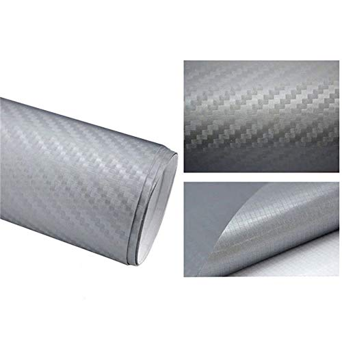 XSYYQYLL 127cmx10/20cm 3D Carbon Fiber Vinyl Car Wrap Sheet Roll Film Car Sticker Motorcycle Decals Car Styling Interior Accessories protecting mask (Color Name : Silver, Size : 127x10cm)