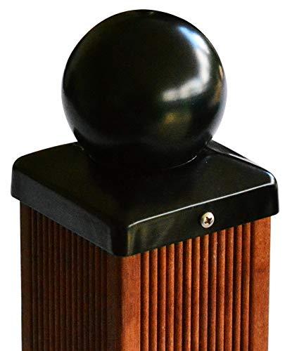Pfostenkappe schwarz mit Kugel für Pfosten 81x81 mm, inkl. VA-Schrauben (8x8 cm)