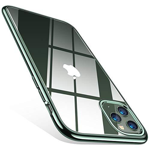 TORRAS Crystal Clear iPhone 11 Pro Hülle, Transparent [Anti-Gelb] Dünn iPhone 11 Pro Case Schutzhülle Silikon Klar Slim Stoßfest Clear Bumper Cover Handyhülle für iPhone 11 Pro - Nachtgrün