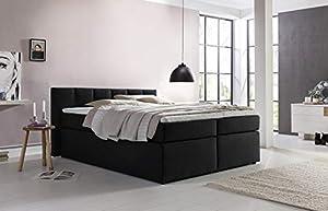 Furniture for Friends Boxspringbett Valina 220x220 cm Schwarz H2/H3 inkl. Visco-Topper, Taschenfederkern-Matratze, ideal für Dachschrägen, Kopfteilhöhe 90 cm