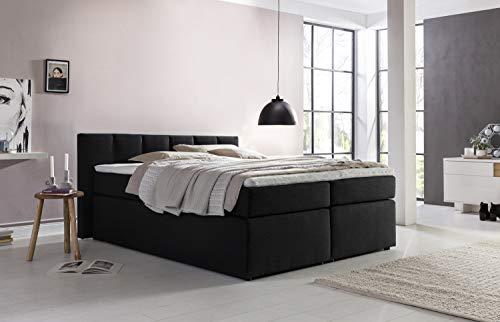 Furniture for Friends Doluna Valina Boxspringbett 180x220 cm H2/H3 in Schwarz niedriges Kopfteil 90 cm Ideal für Dachsschrägen inkl. Visco Topper + 7 Zonen Taschenfederkern-Matratze