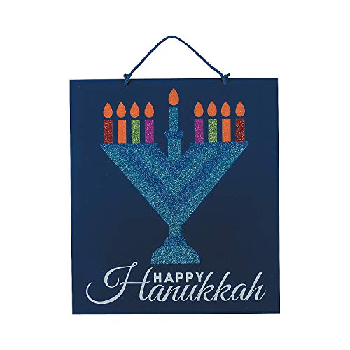 Fun Express Menorah Glitter Wall Sign for Hanukkah (Wood) Home Decor