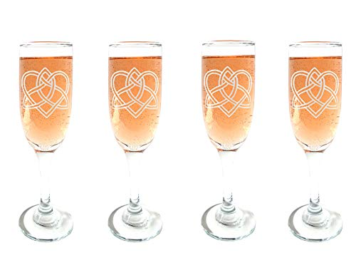 Celtic Love Knot Champagne Flutes Set of Four : Free Personalized Engraving