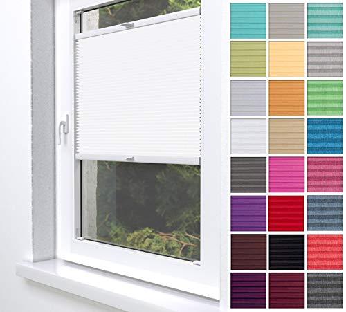 Home-Vision® Premium Plissee Faltrollo ohne Bohren zum Kleben Innenrahmen Blickdicht Sonnenschutz Jalousie für Fenster & Tür (Weiß, B60 x H200cm)