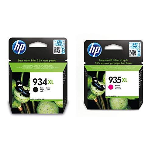 HP 934XL C2P23AE, Negro, Cartucho de Tinta de Alta Capacidad Original + 935XL C2P25AE, Magenta, Cartucho de Tinta de Alta Capacidad Original
