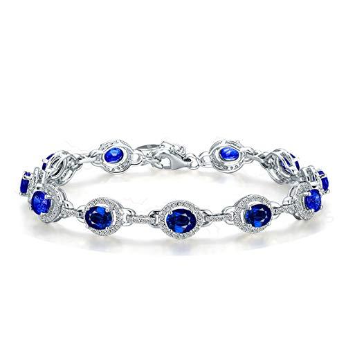 Bishilin Pulseras de Boda Oro Blanco 750 Clásico Pulseras de Encanto Azul Zafiro Diamante Pulseras para Mujer Ajuste Cómodo Forma Ovalada Joyas con Estilo Cumpleaños Azul