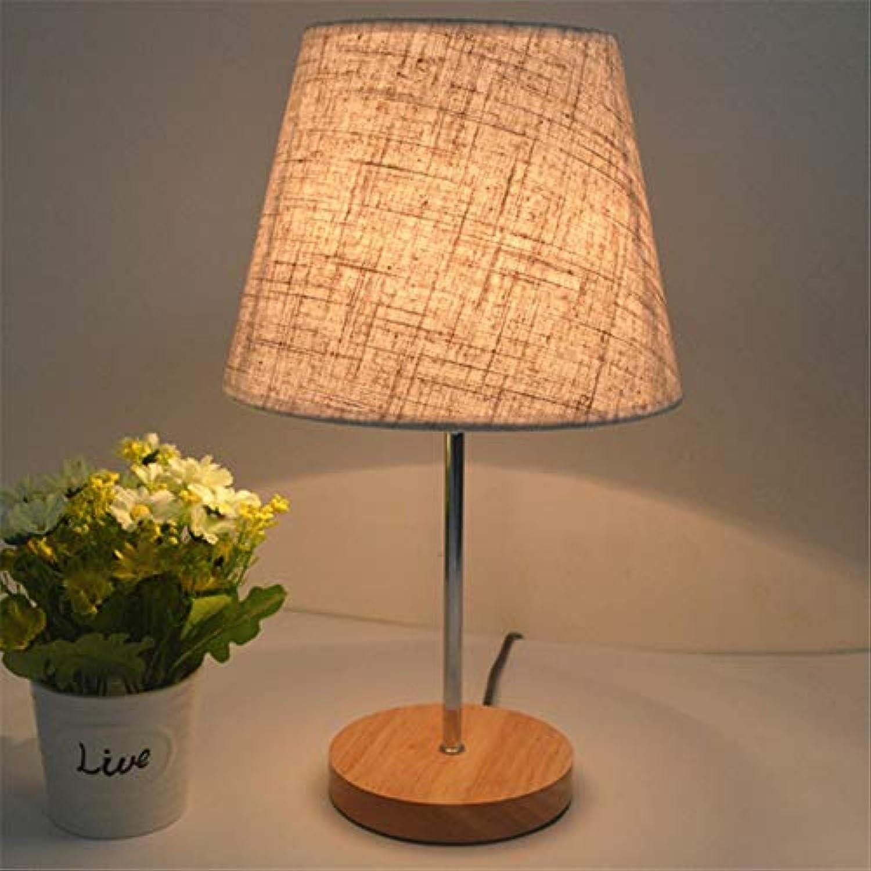 Tischlampe Runde Holz Tischlampe für Schlafzimmer Nachttischlampe Dimmer Tischlampe Nachtlicht 220 V E27, Druckschalter