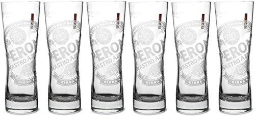 Pint-Gläser von Peroni, originale geätzte Ausführungen (6Gläser)