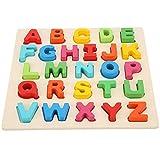 Cikonielf Juguete de Rompecabezas con Forma de número de Alfabeto para niños, Juguete Colorido de Madera para Aprendizaje temprano, Rompecabezas Educativo para niños pequeños(Letra mayúscula)