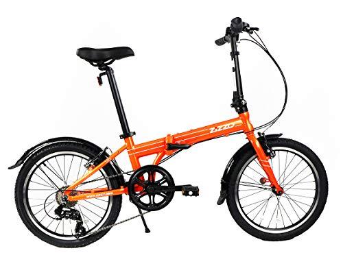 EuroMini ZiZZO Via 27lb Folding Bike-Lightweight Aluminum Frame Genuine Shimano 7-Speed 20-Inch Folding Bike with Fenders